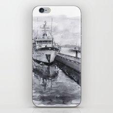 Kirkland Marina Waterfront Boat Watercolor Seattle iPhone & iPod Skin