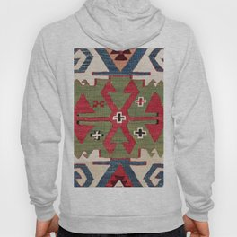 Red Diamond Arrow Konya // 19th Century Authentic Colorful Blue Green Cowboy Accent Pattern Hoody