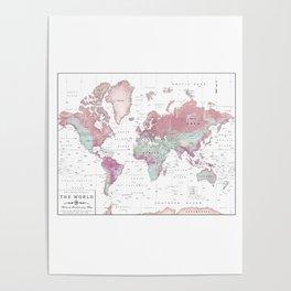 World Map Wall Art [Pink Hues] Poster