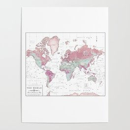 Capitals posters society6 world map wall art pink hues poster gumiabroncs Gallery