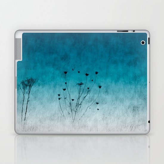 Blue Floral ~ silhouettes Laptop & iPad Skin