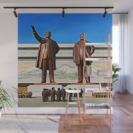 The Gods Of The North | Kim Il-sung And Kim Jong-il Oil Painting Wall Mural