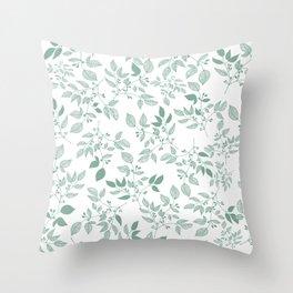 Sage green bushes Throw Pillow