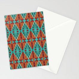 Orange Red Aqua Turquoise Teal Native Mosaic Pattern Stationery Cards