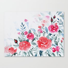 Red roses watercolor painting Canvas Print