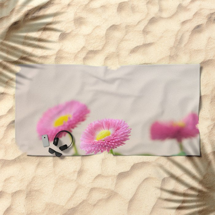 Pink Daisies in the Spring #1 #decor #art #society6 Beach Towel