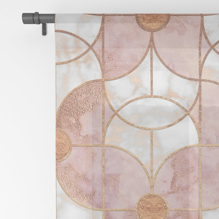 Rose Gold Art Deco Butterfly Pattern Sheer Curtain