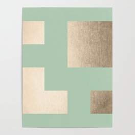 Simply Geometric White Gold Sands on Pastel Cactus Green Poster