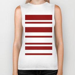Mixed Horizontal Stripes - White and Dark Red Biker Tank