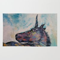 unicorn Area & Throw Rugs featuring Dark Unicorn by Michael Creese