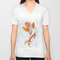 koi fish V-neck T-shirts featuring Koi Fish by Give me Violence