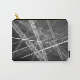 Jet vapour trails in a dark sky Carry-All Pouch