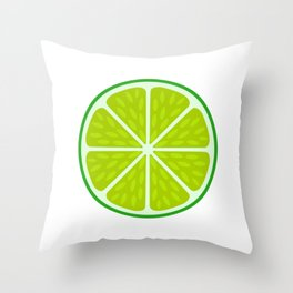 Green lime slice- citrus fruit cut section Throw Pillow