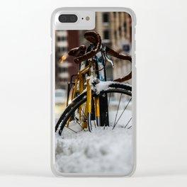 Bike stuck in snow Clear iPhone Case