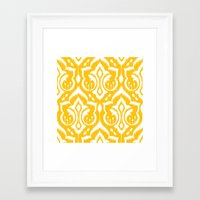 ikat Framed Art Prints featuring Ikat Damask by Patty Sloniger