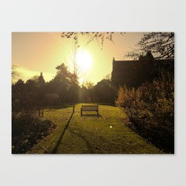 Tranquility at the wooden bench Canvas Print