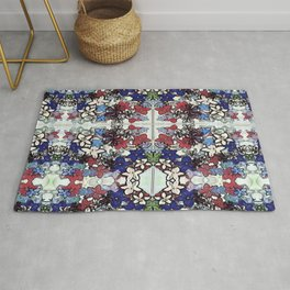 Red-White-Blue Crowded Garden Rug
