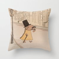 moustache Throw Pillows featuring Moustache by Loezelot