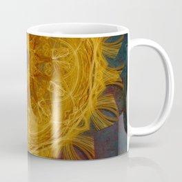 Magical fire mandala and gold butterfly Coffee Mug