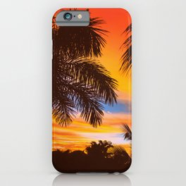 Silhouette coconut palm trees on beach at sunset. Vintage tone. Tropical trees by the beach illustration iPhone Case