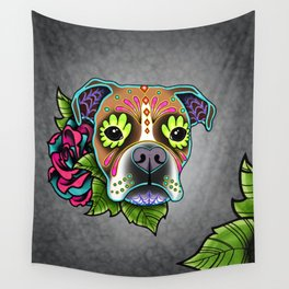 Boxer in White Fawn - Day of the Dead Sugar Skull Dog Wall Tapestry