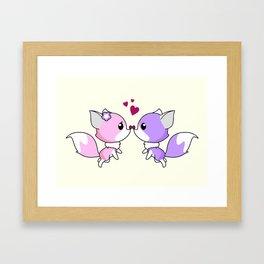 Cute kawaii foxes cartoon in pink and purple Framed Art Print