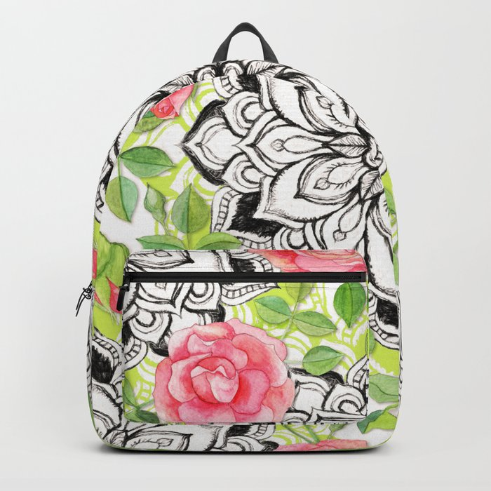 Peach Pink Roses and Mandalas on Lime Green and White Backpack