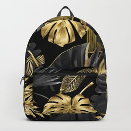 Abstract pattern with gold and black tropical leaves on dark background. Exotic botanical design, hawaiian style, luxury, golden, sparkle, glitter background Backpack