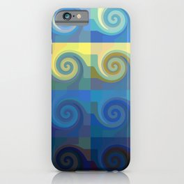 Abstract tiles and waves pattern iPhone Case