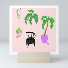 Spindle Chair With Plants Mini Art Print