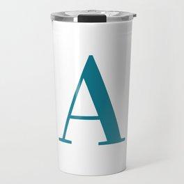 Teal Letter A Initial Monogram Travel Mug