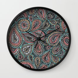 Paisley pattern in pastel colors Wall Clock