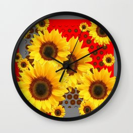 RED-YELLOW SUNFLOWERS GREY ABSTRACT Wall Clock