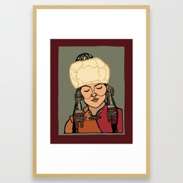 Turkic Woman in Traditional Hat Framed Art Print