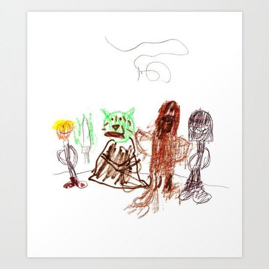 Space Opera in Crayon Art Print