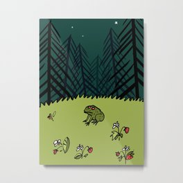 Frog On A Forest Field Metal Print
