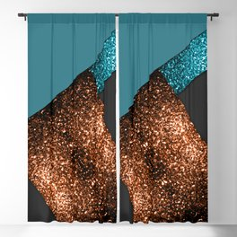 Aqua blue and bronze sparkles modern color block art Blackout Curtain