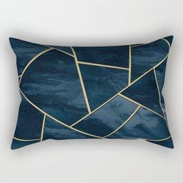 Dark Midnight Navy Blue Gold Geometric Glam #1 #geo #decor #art Rectangular Pillow