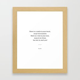 Rumi Quote On Life 11 - Minimal, Sophisticated, Modern, Classy Typewriter Print - Void In Your Soul Framed Art Print