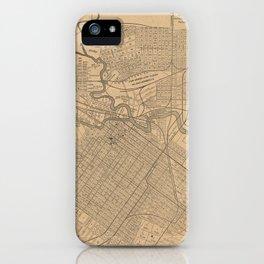 Vintage Houston Texas Railroad Map (1890) iPhone Case