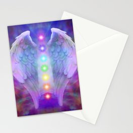 Angel wings and the seven chakras Stationery Cards