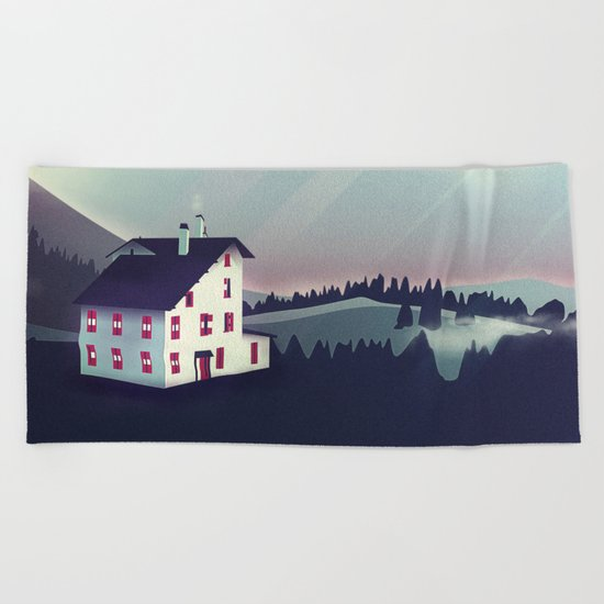 Castle in the Mountains Beach Towel