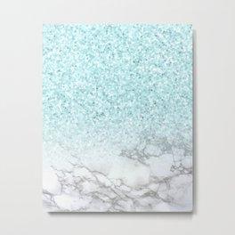 Turquoise Sea Mermaid Glitter Marble Metal Print