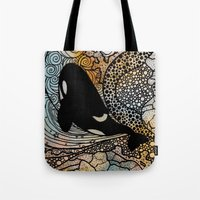 killer whale Tote Bags featuring Killer Whale by Nemki