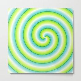 Gradient Lime Light Swirl Metal Print