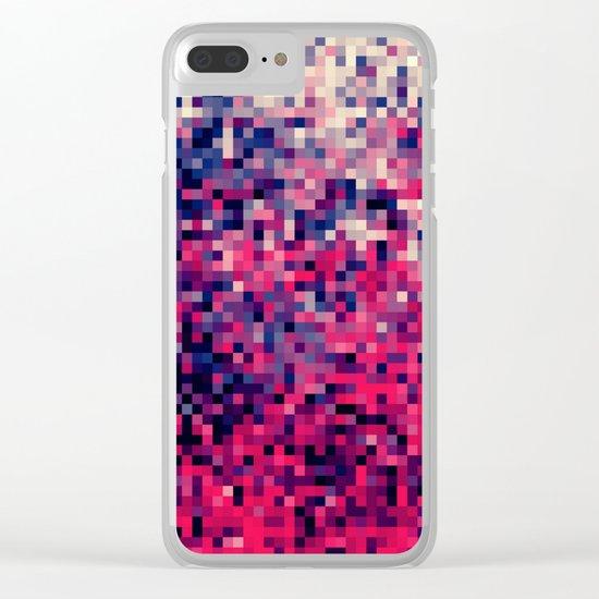 Magenta Indigo Blue Pixels Clear iPhone Case