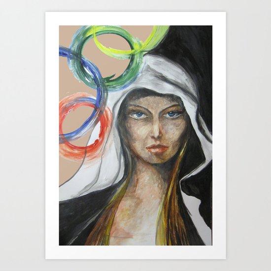 woman hood and circles Art Print