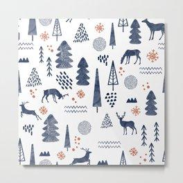 Deer Christmas forest Metal Print