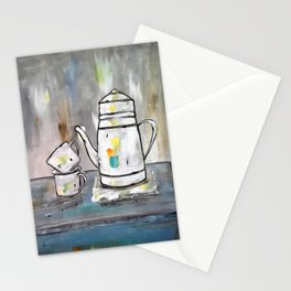 Vintage White Coffee Pot With Cups Stationery Cards