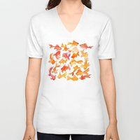 watercolour V-neck T-shirts featuring Goldfish by Cat Coquillette